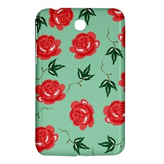 Red Floral Roses Pattern Wallpaper Background Seamless Illustration Samsung Galaxy Tab 3 (7 ) P3200 Hardshell Case