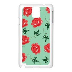 Red Floral Roses Pattern Wallpaper Background Seamless Illustration Samsung Galaxy Note 3 N9005 Case (white) by Nexatart