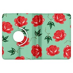 Red Floral Roses Pattern Wallpaper Background Seamless Illustration Kindle Fire Hdx Flip 360 Case by Nexatart