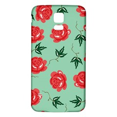 Red Floral Roses Pattern Wallpaper Background Seamless Illustration Samsung Galaxy S5 Back Case (white) by Nexatart