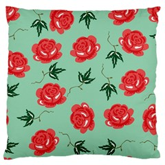Red Floral Roses Pattern Wallpaper Background Seamless Illustration Large Flano Cushion Case (two Sides) by Nexatart