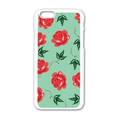 Red Floral Roses Pattern Wallpaper Background Seamless Illustration Apple Iphone 6/6s White Enamel Case by Nexatart