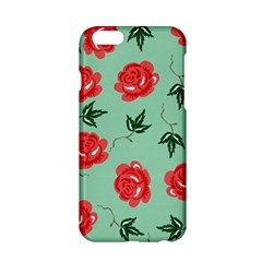 Red Floral Roses Pattern Wallpaper Background Seamless Illustration Apple Iphone 6/6s Hardshell Case by Nexatart