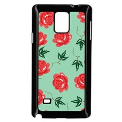 Red Floral Roses Pattern Wallpaper Background Seamless Illustration Samsung Galaxy Note 4 Case (black) by Nexatart
