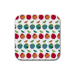 Watercolor Floral Roses Pattern Rubber Square Coaster (4 Pack)  by Nexatart