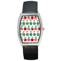 Watercolor Floral Roses Pattern Barrel Style Metal Watch