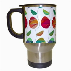 Watercolor Floral Roses Pattern Travel Mugs (White)