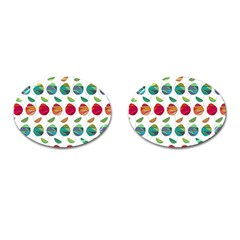 Watercolor Floral Roses Pattern Cufflinks (oval) by Nexatart