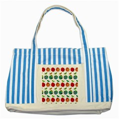 Watercolor Floral Roses Pattern Striped Blue Tote Bag by Nexatart