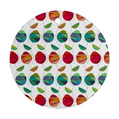 Watercolor Floral Roses Pattern Round Ornament (Two Sides)