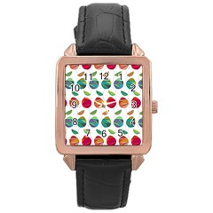Watercolor Floral Roses Pattern Rose Gold Leather Watch