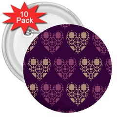 Purple Hearts Seamless Pattern 3  Buttons (10 Pack)