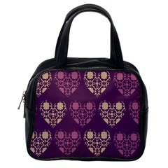 Purple Hearts Seamless Pattern Classic Handbags (one Side)