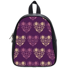 Purple Hearts Seamless Pattern School Bags (small)  by Nexatart