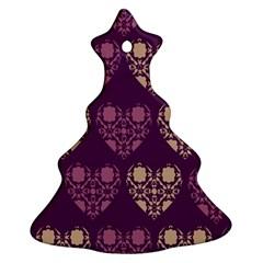 Purple Hearts Seamless Pattern Ornament (christmas Tree)