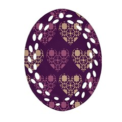 Purple Hearts Seamless Pattern Oval Filigree Ornament (two Sides) by Nexatart