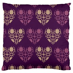 Purple Hearts Seamless Pattern Large Cushion Case (two Sides)