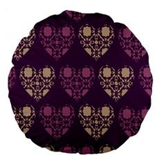 Purple Hearts Seamless Pattern Large 18  Premium Round Cushions by Nexatart