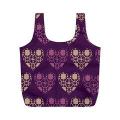 Purple Hearts Seamless Pattern Full Print Recycle Bags (m)  by Nexatart