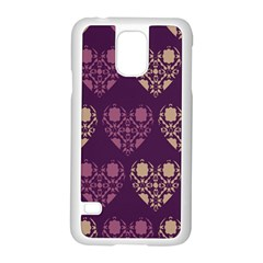Purple Hearts Seamless Pattern Samsung Galaxy S5 Case (white) by Nexatart