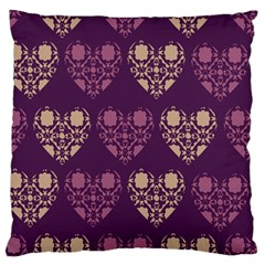 Purple Hearts Seamless Pattern Large Flano Cushion Case (one Side)
