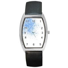 Blue Paint Splats Barrel Style Metal Watch