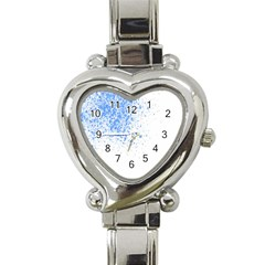 Blue Paint Splats Heart Italian Charm Watch