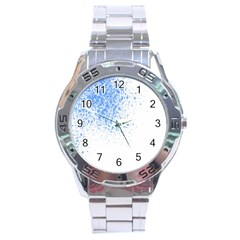 Blue Paint Splats Stainless Steel Analogue Watch by Nexatart