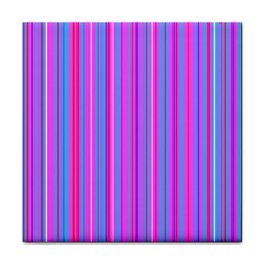 Blue And Pink Stripes Tile Coasters