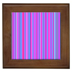 Blue And Pink Stripes Framed Tiles by Nexatart