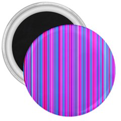 Blue And Pink Stripes 3  Magnets by Nexatart