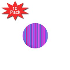 Blue And Pink Stripes 1  Mini Buttons (10 Pack)  by Nexatart
