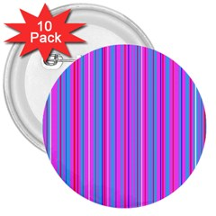 Blue And Pink Stripes 3  Buttons (10 Pack)