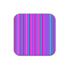Blue And Pink Stripes Rubber Square Coaster (4 Pack)  by Nexatart