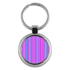 Blue And Pink Stripes Key Chains (round)
