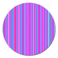 Blue And Pink Stripes Magnet 5  (round) by Nexatart