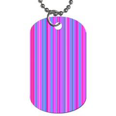 Blue And Pink Stripes Dog Tag (one Side)