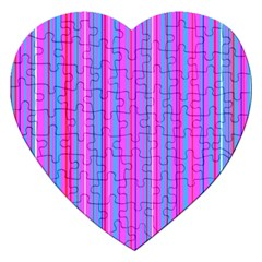 Blue And Pink Stripes Jigsaw Puzzle (heart)