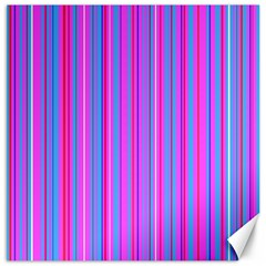 Blue And Pink Stripes Canvas 12  X 12   by Nexatart