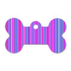 Blue And Pink Stripes Dog Tag Bone (two Sides) by Nexatart