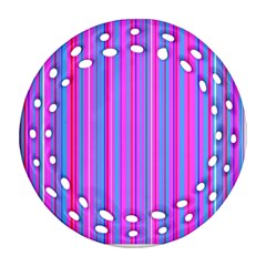 Blue And Pink Stripes Round Filigree Ornament (two Sides) by Nexatart
