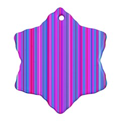 Blue And Pink Stripes Snowflake Ornament (two Sides) by Nexatart