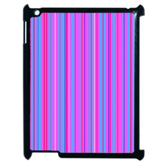 Blue And Pink Stripes Apple Ipad 2 Case (black)