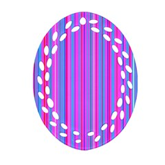 Blue And Pink Stripes Oval Filigree Ornament (two Sides) by Nexatart