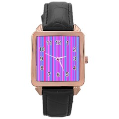 Blue And Pink Stripes Rose Gold Leather Watch