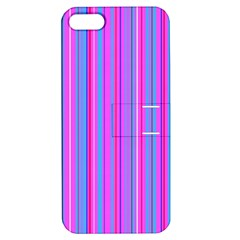 Blue And Pink Stripes Apple Iphone 5 Hardshell Case With Stand by Nexatart