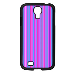Blue And Pink Stripes Samsung Galaxy S4 I9500/ I9505 Case (black) by Nexatart