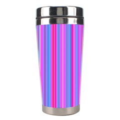 Blue And Pink Stripes Stainless Steel Travel Tumblers by Nexatart