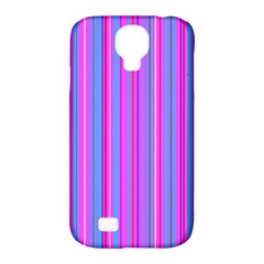 Blue And Pink Stripes Samsung Galaxy S4 Classic Hardshell Case (pc+silicone) by Nexatart