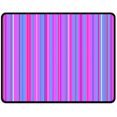 Blue And Pink Stripes Double Sided Fleece Blanket (medium)
